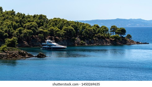 Luxury yacht moored at the Bay, Chalkidiki in Greece