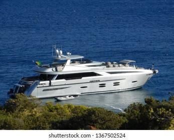 A luxury yacht near the coast of Vouliagmeni in Attica, Greece