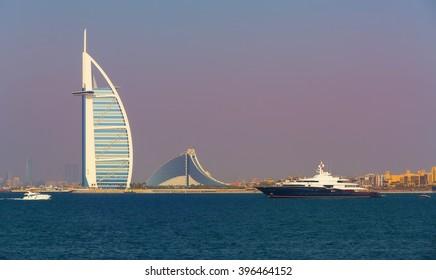 Luxury yacht near Jumeirah beach,hotels and boats in luxury Dubai city,United Arab Emirates