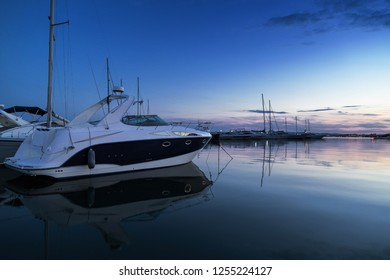 Luxury yacht on the port at night