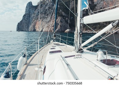 Luxury yacht sailing in the tropical sea