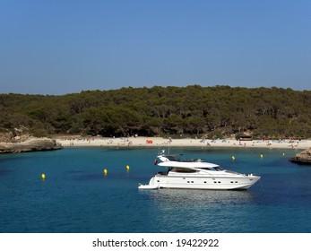 Luxury yacht in S'Amarador beach in Majorca (Balearic Islands - Spain)