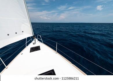Luxury yacht at sea race. Sailing regatta. Cruise yachting