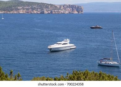 Luxury yacht in the small bay on Sardinia Island, Italy