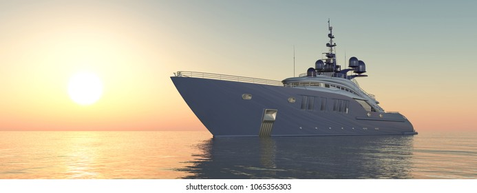 Luxury yacht at sunset Computer generated 3D illustration