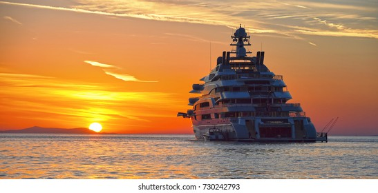 Luxury yacht at sunset. Yachting. Cruises