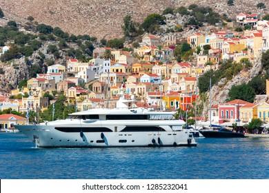 Luxury yacht in Symi port, Dodecanese islands, Greece