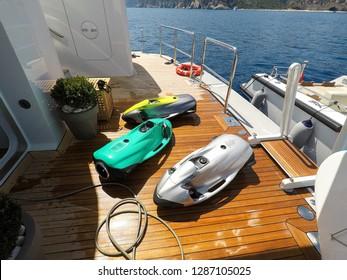 luxury yacht toys, seabob, paddle board.