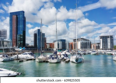 Luxury yachts and apartments at Southampton's Ocean Village marina