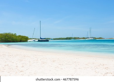 Luxury yachts at the beach of archipelago Los Roques, Venezuela