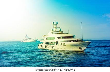 Luxury yachts off the Island of Capri, Amalfi Coast, Italy, Europe