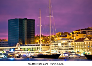 Luxury yachts on Split waterfront evening view, Dalmatia, Croatia