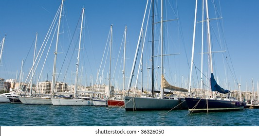 Luxury yachts in Palma harbor