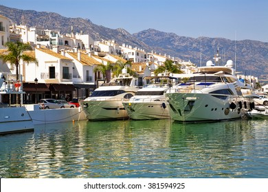 Luxury yachts in Puerto Banus, the marina of Marbella, Spain.