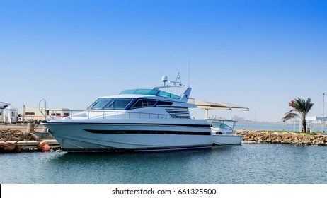 A luxury yatch parked in the jetty