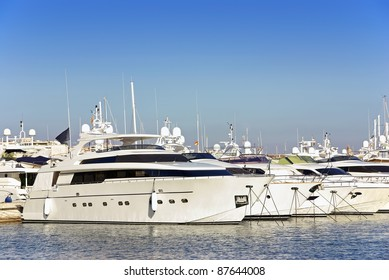 Luxury yatches standing on a yacht club in Majorca (Balearic Islands - Spain)