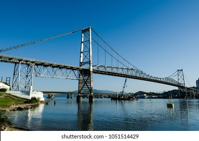 Hercílio Luz Bridge Florianópolis Santa Catarina Brazil, day photo, made in the part of the island, with blue sky