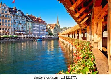 Luzern Chapel Bridge and waterfront landmarks view, town in central Switzerland
