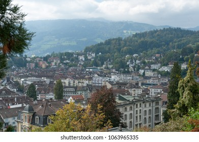 Luzern city center from the city wall