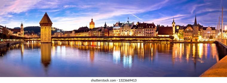 Luzern Kapelbrucke and riverfront architecture famous Swiss landmarks panoramic view, famous landmarks of Switzerland