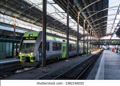 LUZERN, SWITZERLAND - JAN 29, 2017: Bombardier RABe525 RegioExpress train service to Bern of BLS stopping at Luzern station platform.