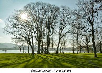 Luzern, Switzerland - March 31, 2019: People relaxing in small park next to Museum of Transportation on shores of lake Lucerne in Luzern, Switzerland during spring 2019