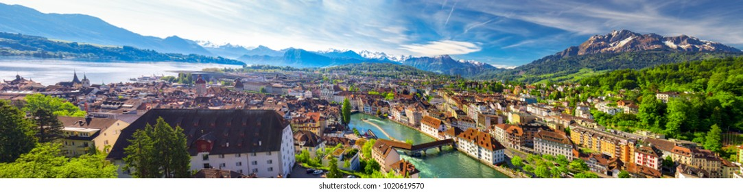 LUZERN, SWITZERLAND - May 2016 -  Historic city center of Lucerne with famous Chapel Bridge and lake Lucerne (Vierwaldstattersee), Canton of Luzern, Switzerland