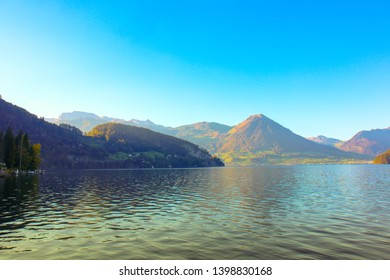 Luzern, Switzerland - Oct 14, 2018 : Beautiful view on Ship running on Lake Lucerne, beautiful aerial view Lake Lucerne, Pilatus mountain city the summer season, boats and ships, travel and vacation