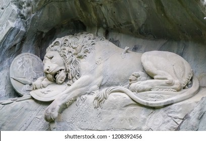 Luzern, Switzerland-22 May,2018. The dying lion of Luzern. This Lion monument designed by Bertel Thorvaldsen.