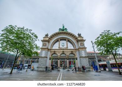 LUZERN,SWITZERLAND - June 13 ,2018:Luzern Railway Station where is tourist people visitlocation shore of Lake Lucerne