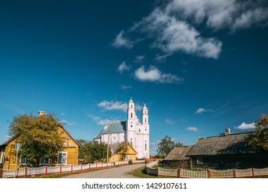 Luzhki, Vitebsk Region, Belarus. Church Of St. Michael Archangel In Sunny Day. Copy Space