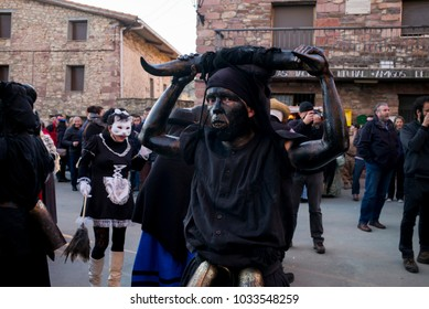 Luzon, Guadalajara, Spain, February 24 2018: Carnival of Luzon, The Devils of Luzon, ancient tradition.