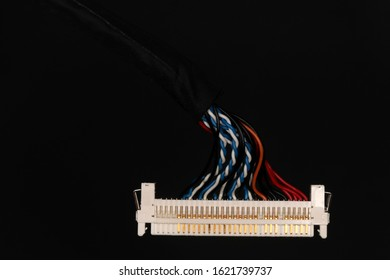 LVDS cable for mini-ITX motherboard against a black background