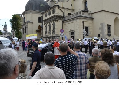 LViIV,UKRAINA-JUNE 18.2016 cardinal Pietro Parolin Cardinal Pietro Parolin in the Ukraine city of Lviv 2016, gets out and greets his fans on June 18, near the Cathedral of St.YURA