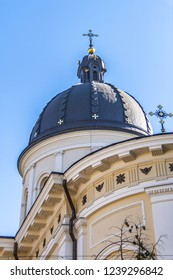 Lviv Church of Transfiguration (Ukr: Preobrazhenska tserkva) located in city's Old Town. Roman Catholic Church of Transfiguration was built in 1731. Lviv, Ukraine.