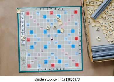 Lviv city, Ukraine, February 2021. Scrabble game board. A classic American game. Board games and family entertainment.