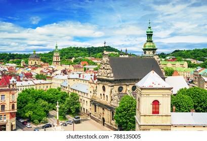 Lviv, city view, historical city center, Ukraine, Western Ukraine