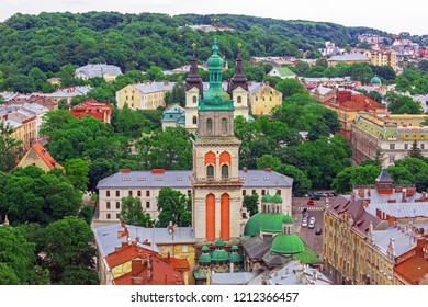 Lviv historical city center view with famous buildings , Ukraine, Western Ukraine