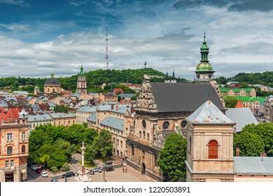 Lviv historical city center view with famous buildings , Ukraine, Western Ukraine