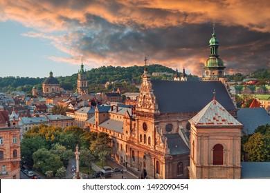 Lviv historival city center skyline at sunset, Ukraine