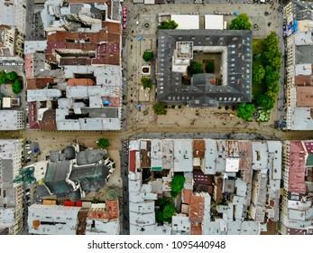 Lviv (Lvov) city. Market square. Aerial view.