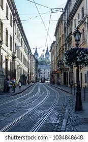 Lviv (Lvov, Lemberg) / Ukraine - August 2017:  Old tram rails