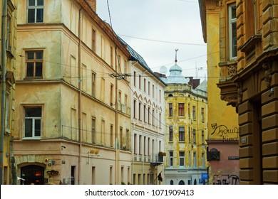 Lviv (Lvov), Ukraine, 15 October 2017: One of the streets of old city of Lviv