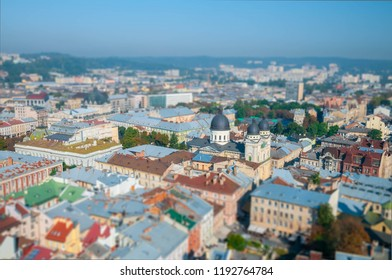Lviv old city miniature panorama view from the top