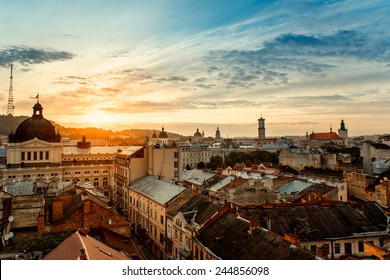 Lviv old city panorama view at sunrise