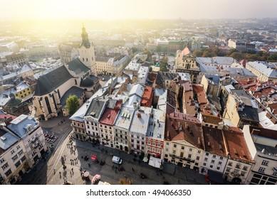 Lviv old city vintage panorama. Ukraine.
