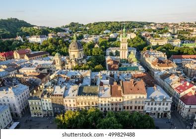 Lviv old city vintage panorama. Lviv, Ukraine.