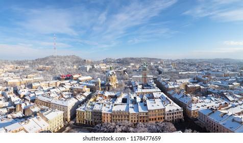 Lviv panorama  in winter