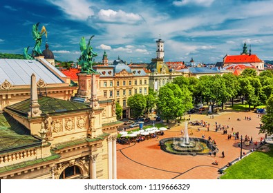 Lviv - Scenic city center view, historical center with many sights at sunset, Western Ukraine