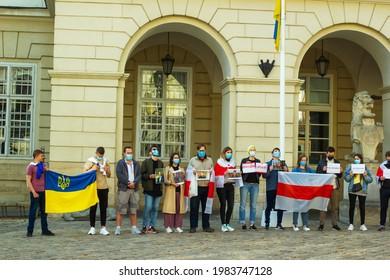 Lviv, Ukraine - 01 June 2021: Meeting in support of political prisoners in Belarus near Town Hall